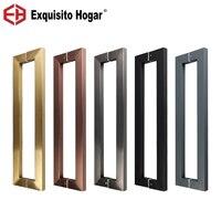 Punho quadrado de aço inoxidável de madeira do punho do armário da luz rosa do ouro da porta de vidro feita sob encomenda punho grande 600mm Maçanetas     -