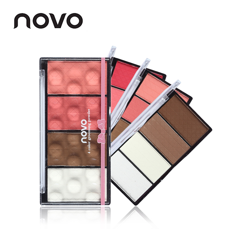 NOVO Brand Face Matte Blush Powder Palette Make Up Bronzer Rouge Cheek Natural Mineral Blusher Set Makeup все цены