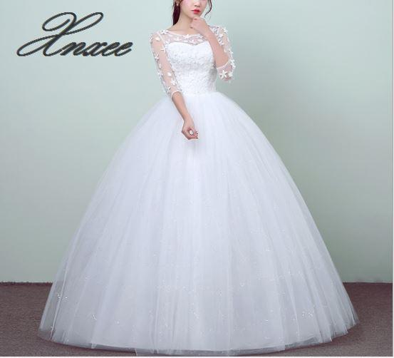 2019 new round neck white dress sleeves lace temperament elegant dress
