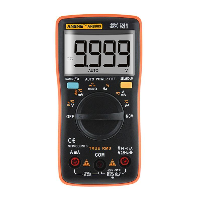 AN8009 Auto Range LCD Digital Multimeter Full protection AC/DC Voltmeter Ammeter Ohm Capacitance NCV Electrical Tester auto digital multimeter 6000counts backlight ac dc ammeter voltmeter transform ohm frequency capacitance temperature meter xj23
