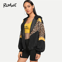 ROMWE Leopard Print Hooded Jacket Women Autumn Clothing Sporty Womens Jackets And Coats Female Zip Up Hoodie Outerwear