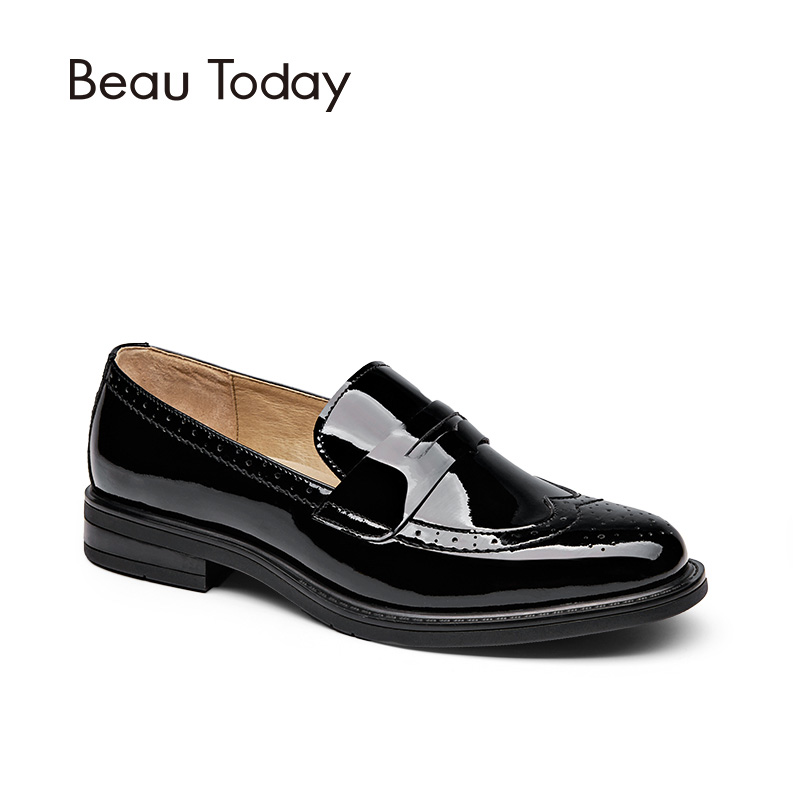 BeauToday Penny Loafer Women Genuine Cow Leather Round Toe Slip On Shoes Patent Leather Brogue Flats Handmade 27039 beautoday oxford shoes women fashion lace up round toe brogue style waxing genuine cow leather ladies flats 21085