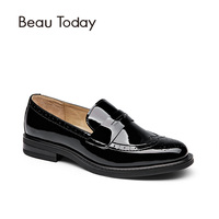 BeauToday Genuine Leather Loafer Women Round Toe Carved Slip On Casual Shoes Patent Leather Flats 27039