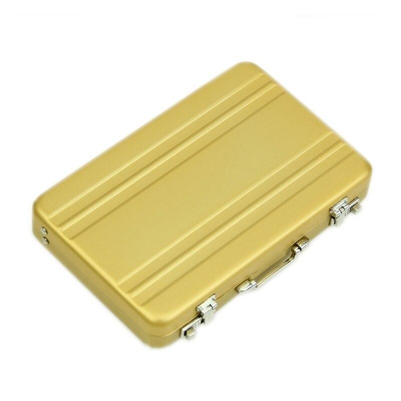 Aluminium passwort box Karte Fall Mini koffer Passwort aktentasche Gold