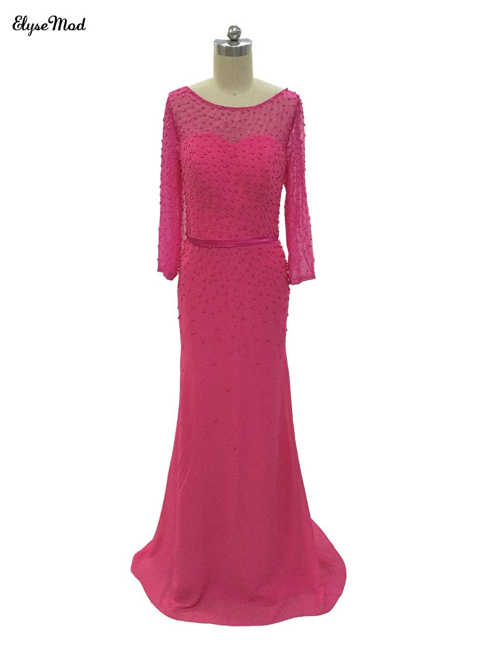 Ajusté a-ligne encolure dégagée Fuchsia longues élégantes robes de bal Court Train en mousseline de soie perlée manches longues robes de soirée