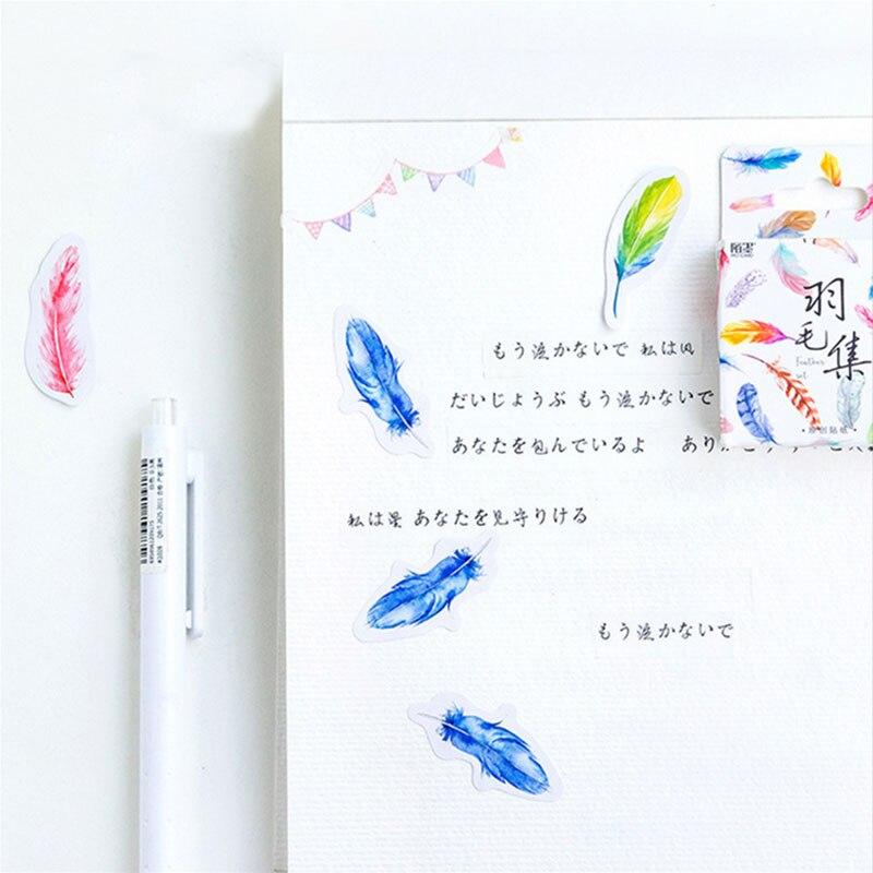 Купить с кэшбэком 45 Pcs/box cute beautiful feather Mini Paper Decoration DIY Scrapbook Notebook Album Sticker Stationery Kawaii Girl Stickers