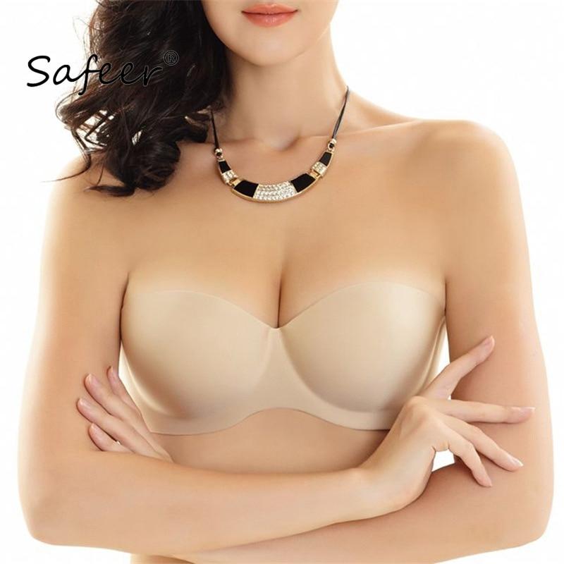 Safeer Strapless Magic Bralette Large Plus Size Bra podprsenka Women Seamless Invisible Sexy Spodní prádlo Super Push Up Soft Soft 1/2 Cup