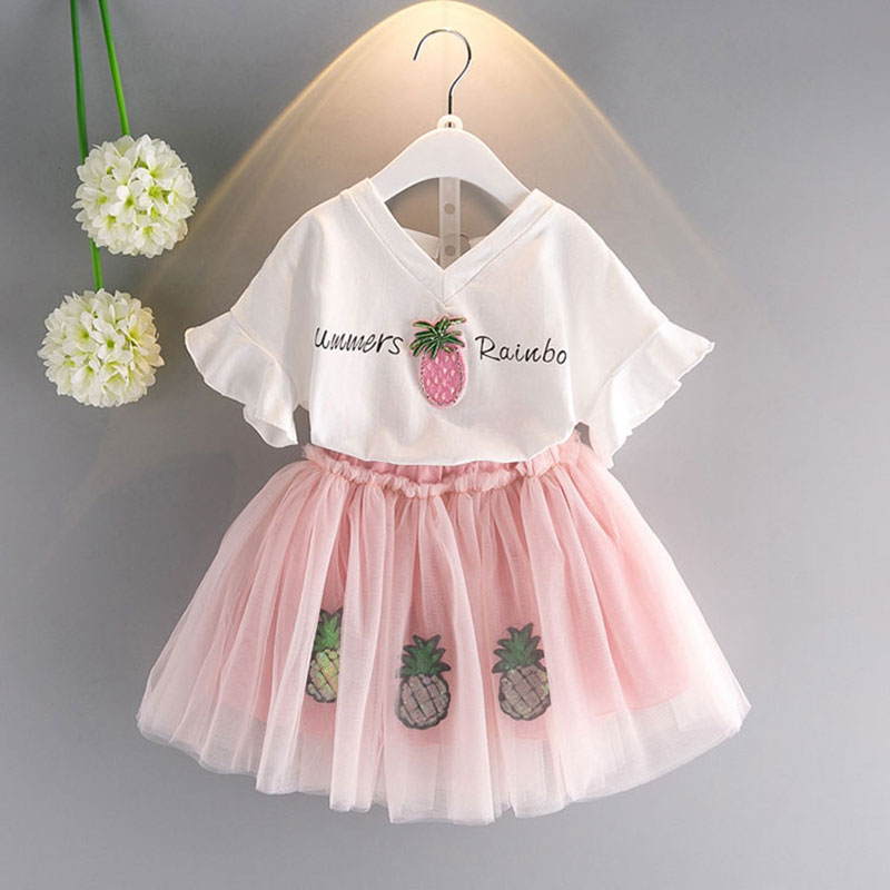 где купить 2-7T Summer teenage children Girls' Clothing Tops T-Shirts + Skirts Sets for toddler Girls kids wear Fashion clothes Set по лучшей цене