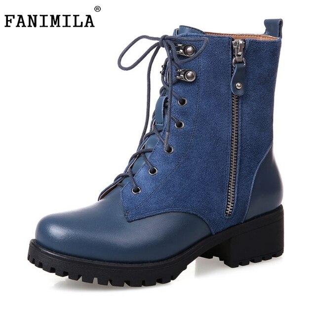 e4a3356baf03e Platform Square Heel Half Short Real Leather Boots Women Fashion Round Toe  Zipper Shoes Lace-Up Female Bootie Size 34-39
