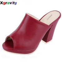 7a59d9b0cb 10 CM Heel Lady Open Toe Lady Platform High Heel Slippers Fashion Woman  Clogs Lady Casual
