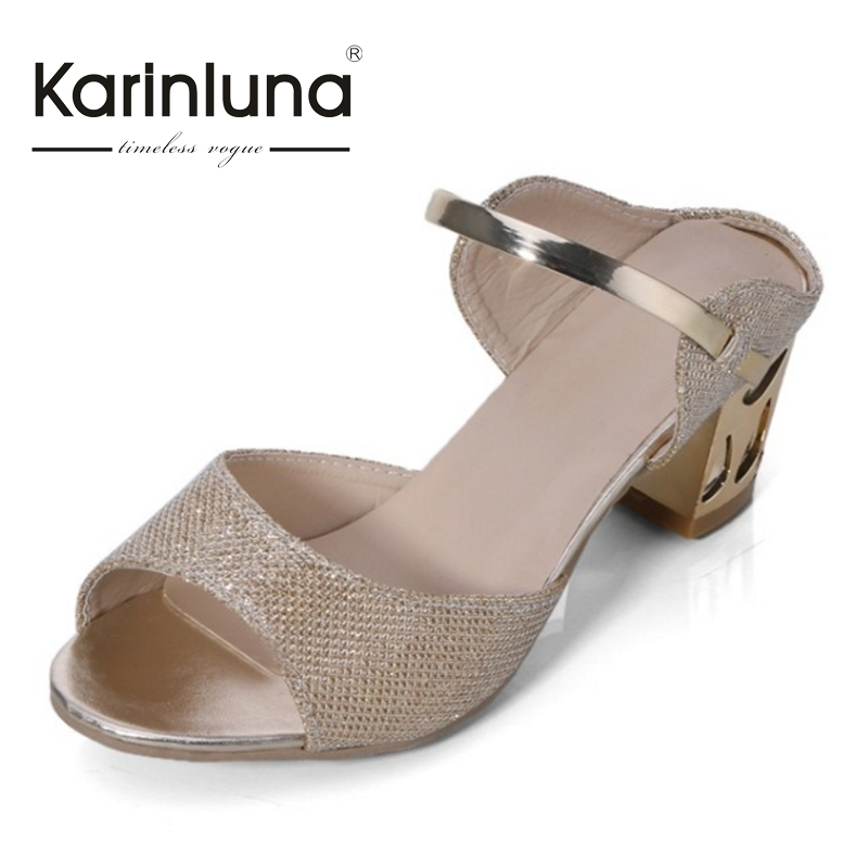 ФОТО KARINLUNA New Fashion Concise Peep Toe Women Shoes Woman Sandals Slip On Square Me Heels Bling Uper Gold Sliver