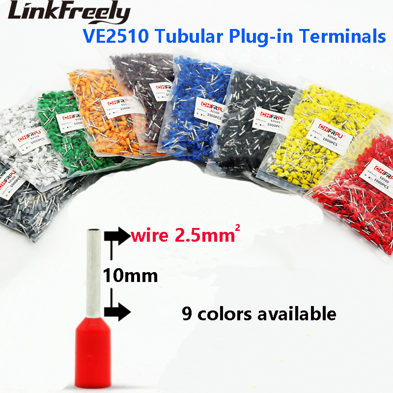 1000pcs VE2510 E2510 Tubular Insulated Electrical Wiring Connector Terminal Lug Faston Cable Splice Crimp Terminals Pin Sets in Terminals from Home Improvement