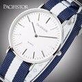 PACIFISTOR Mens Relógios Top Marca de Luxo Ultra Fina De Quartzo Relógio Grande Mostrador do Relógio Masculino Relógios Tecido Strap Negócios Relogio masculino