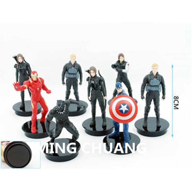 Infinito guerra Super-heróis vingadores Capitão América Homem De Ferro Brinquedo Pantera Negra Mulher Maravilha Figura de Ação de Plástico DO OPP 8 CM Q206