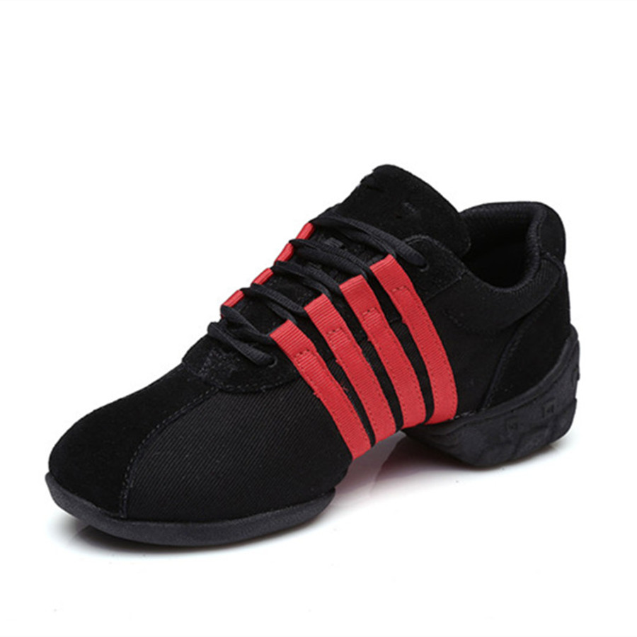 ФОТО Black+Red Mesh Dance Sneakers Woman Jazz Shoes Zapatilla De Deporte Free Shipping