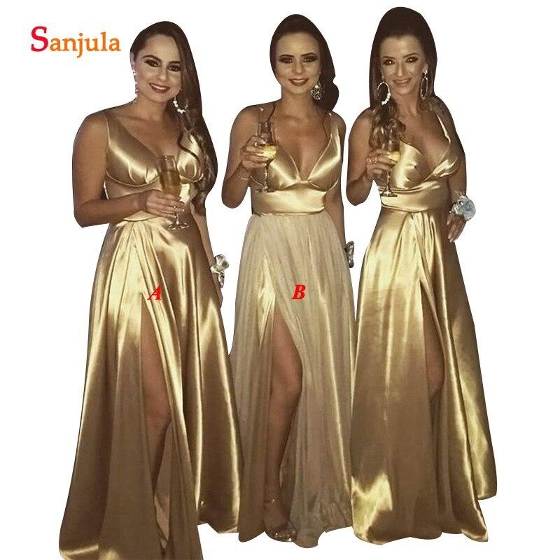 Women Gold Party   Dresses   For Wedding A-line V-neck Long   Bridesmaid     Dress   With Slit vestido de festa longo BY21