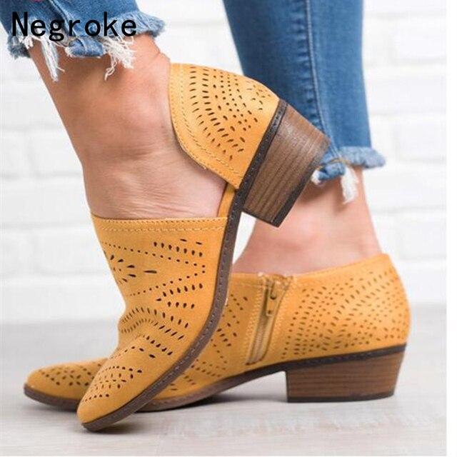 2019 แฟชั่นผู้หญิงรองเท้าฤดูใบไม้ผลิฤดูร้อน Block รองเท้าส้นสูงสุภาพสตรีรองเท้า PU หนัง Botines Hollow Out ข้อเท้าแพลตฟอร์ม Botas Mujer