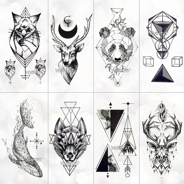 Geometría cool tatuaje temporal pegatina mujeres líneas minimalista patrón arte corporal nuevo diseño falso hombres tatuajes