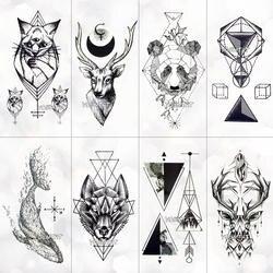 Геометрия Прохладный Временные татуировки Стикеры Для женщин минималистский линии узор Body Art Новый дизайн поддельные Для мужчин