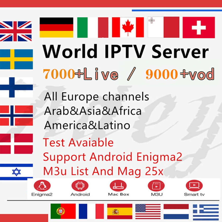 Netherlands IPTV/europe IPTV 1 year Subscription For Italy UK Germany French Spanish <font><b>Belgium</b></font> Mediaset Premium For M3u Android image