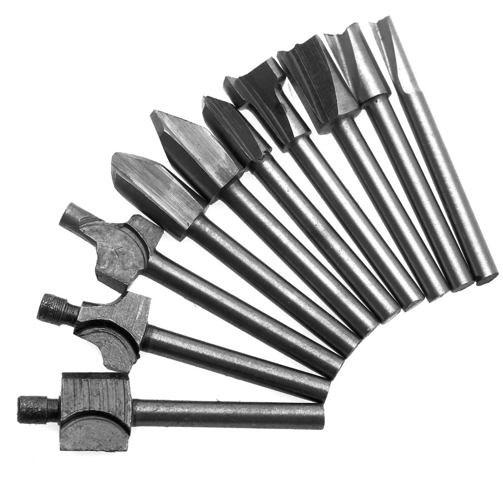 10Pcs Dremel Accessories Woodworking Tools HSS Titanium Router Mill Bits Wood Cutter Trimmer Router Bit For Rotary Tool Cutting