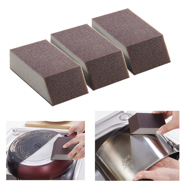 5//3//1 pcs Carborundum Sponge Brush Kitchen Cleaning Stain Removal Rust Removing