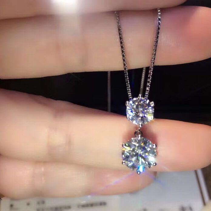 TN261 lassic 1 carat 2carat NSCD Simulated Gem 6 prongs Pendant Necklaces For Women