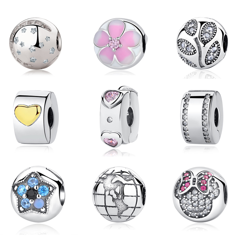 Authentic Original 925 Sterling Silver Bead Charm Bloom Love Clip Crystal Stopper Charms Fit Pandora Bracelets Women DIY Jewelry