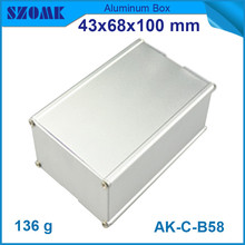 10pcs/lot silver aluminum enclosures power distribution case for electronics used to pcb 43x68x100mm