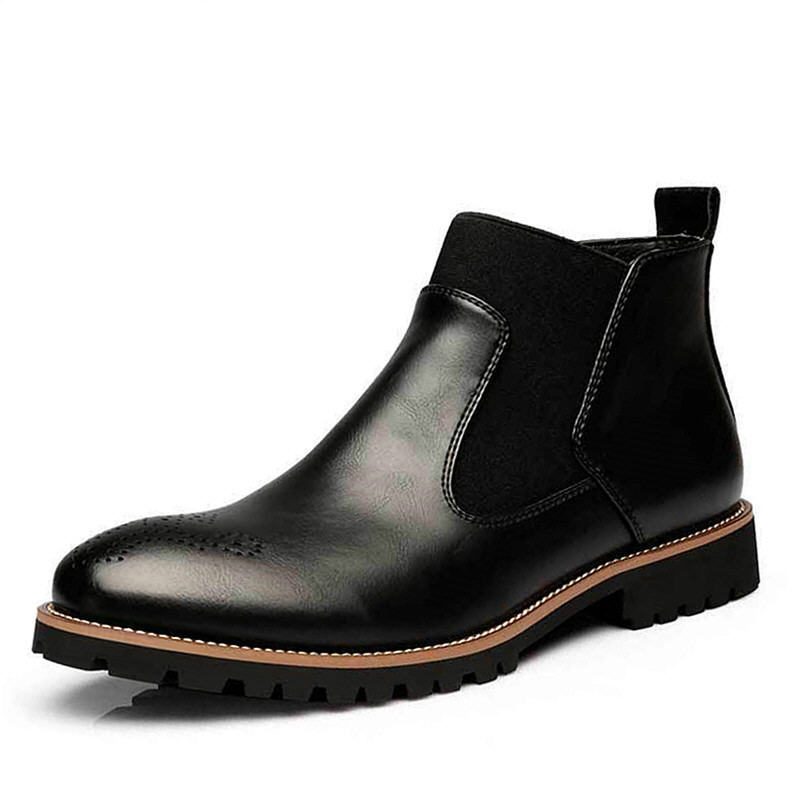 Big Size Autumn Winter Men Martin boots Slip-On Pointed Toe Chelsea Boots Genuine leather Breathable Ankle Boots Male shoes цены