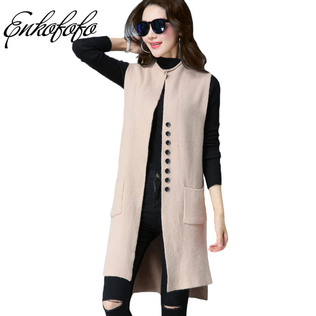 9c5665608eddf Warm Long Cardigan Vest 2018 Autumn New Arrival Cardigans for Women  Sleeveless Sweaters Cardigan Button Loose Wool Sweater