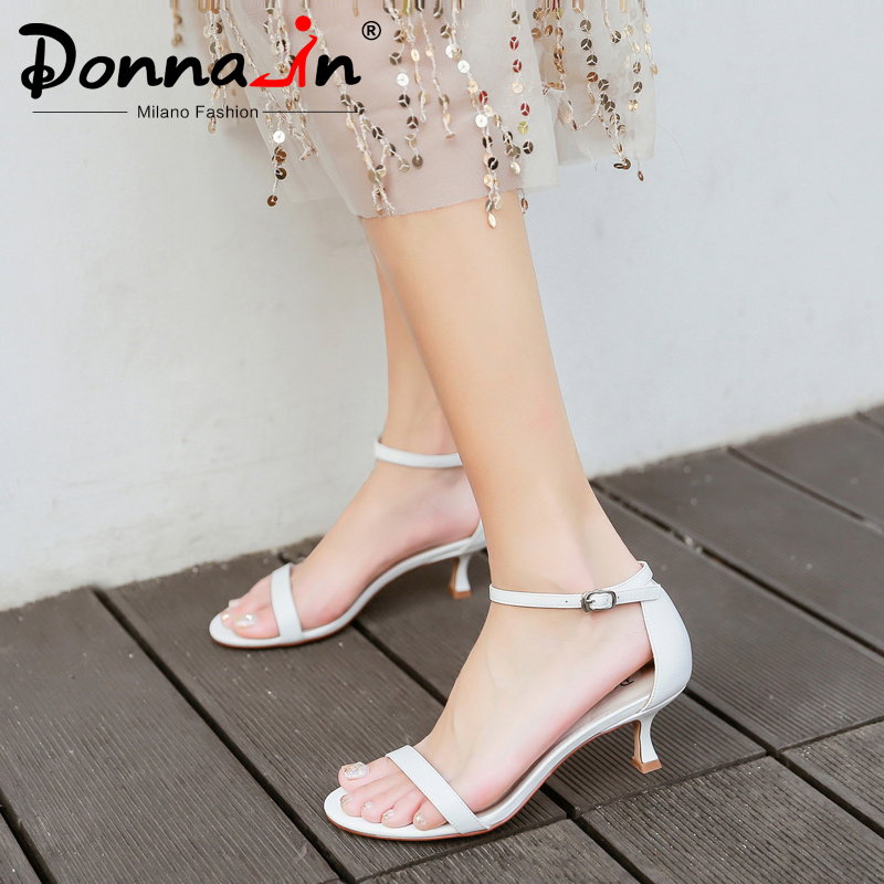 Donna-in Real Leather Medium Heels Sandals Women Summer Shoes Open Toe Comfortable Elegant Band Buckle Sandals Nude Black White