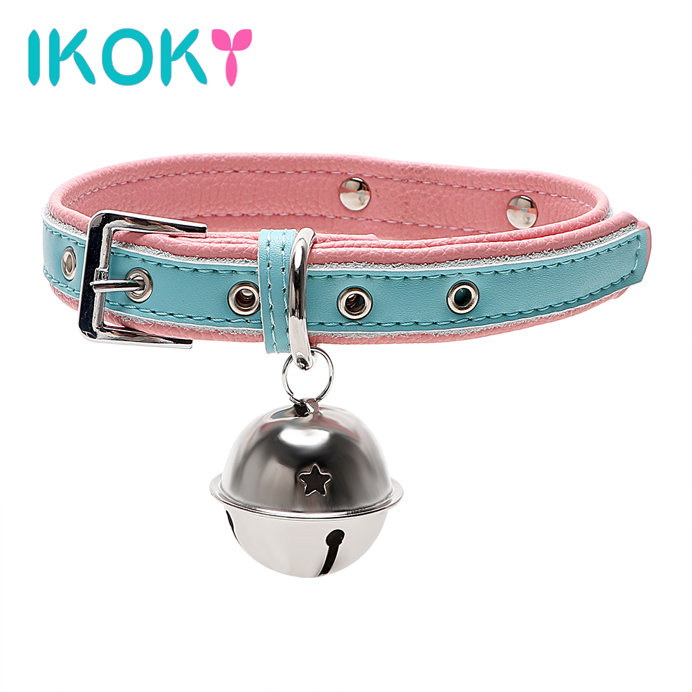 Buy IKOKY Leather Harness Bell Neck Collar SM Bondage Sex Toys Couples Roleplay Slave Restraints Women Adjustable