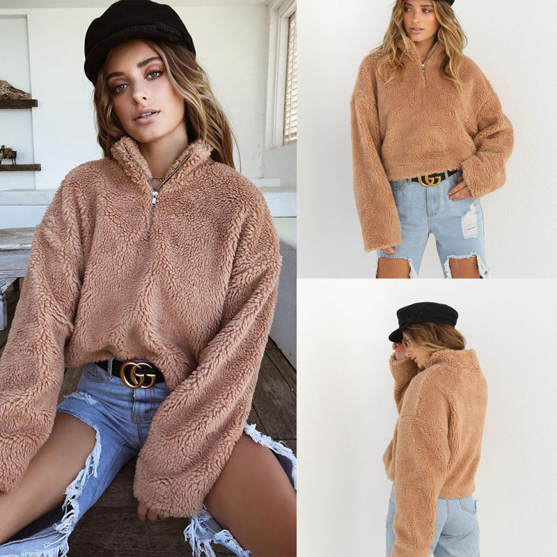 2019 Autumn Winter Warm Fluffy Sweater Women Turtleneck Long Sleeve Pullover Knitted Crop Tops Solid Sweaters