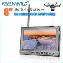 "Feelworld 8 ""Wireless Monitor untuk Gopro Drone dengan Built-In Baterai dan Dual 5.8G 40CH Diversity Receiver FPV Monitor FPV821"