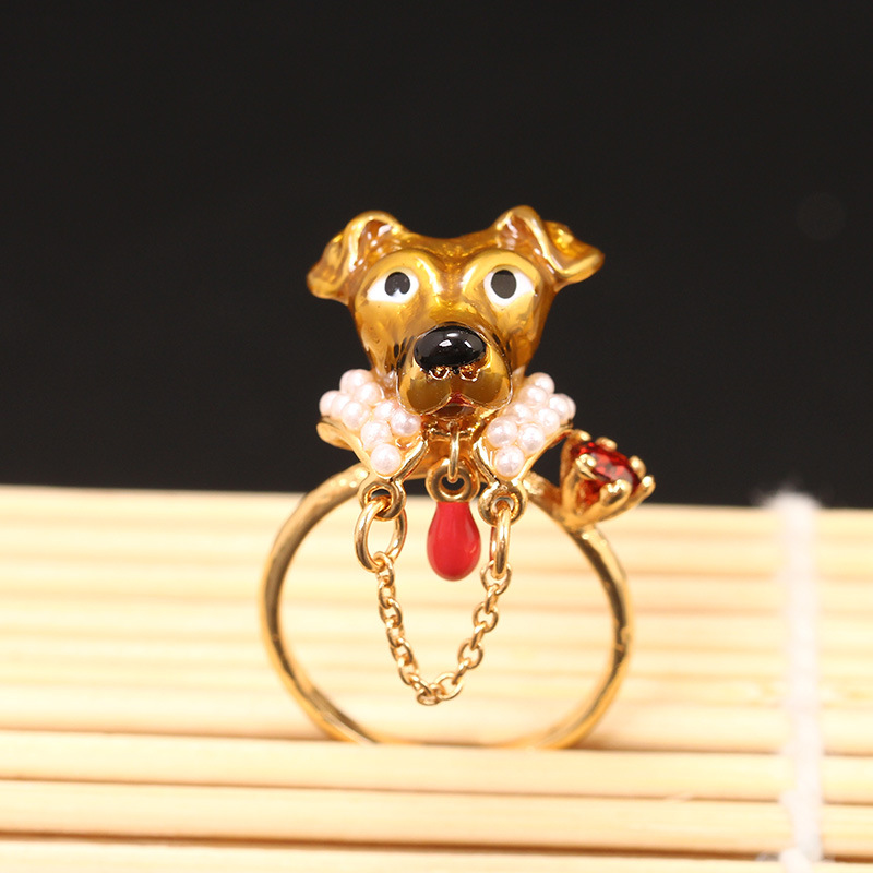 France Les Nereides Enamel Open Rings Pretty Dogs Chain Ring Gold-plated Jewelery For Women 2016 Hot Wholesale