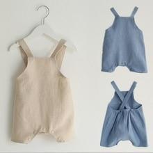 Modes bērnu meiteņu zēniem rompers cute vasaras vienkrāsainu piekariņš zīdaiņu bērniem mīksta veļa drēbes īss kombinezoni