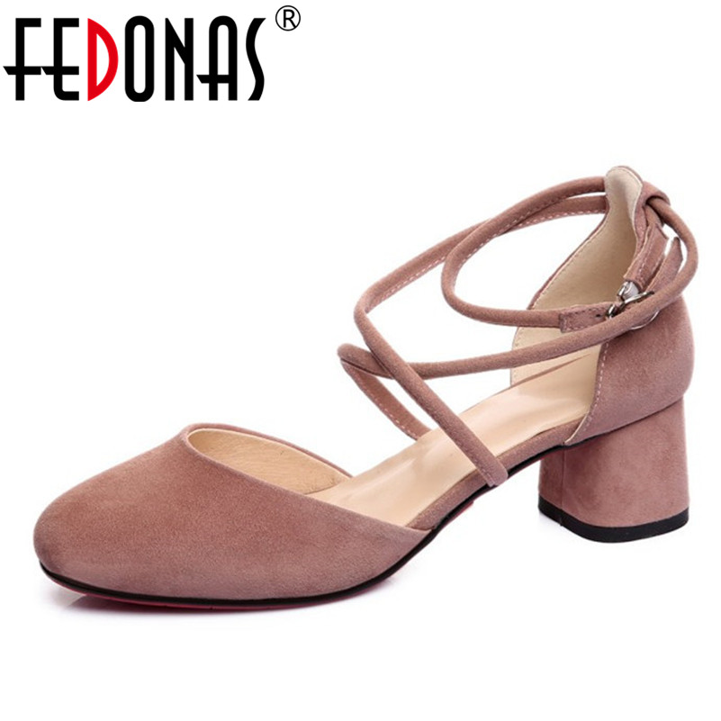 FEDONAS 2018 Woman Genuine Leather Shoes Square Toe High Heels Wedding Female Women Pumps Sexy Ankle Strap New Shoes Woman fedonas high quality women genuine leather shoes woman high heels sexy pointed toe silver gold wedding party shoes female pumps