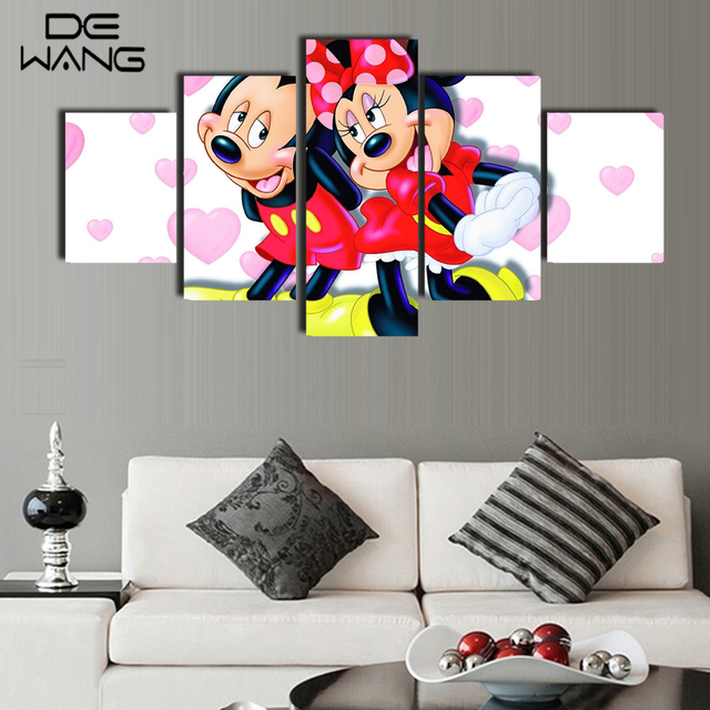 5 Piece Canvas Art Paintings Wall Pictures Painting Calligraphy Decorative Mickey Mouse Minnie For