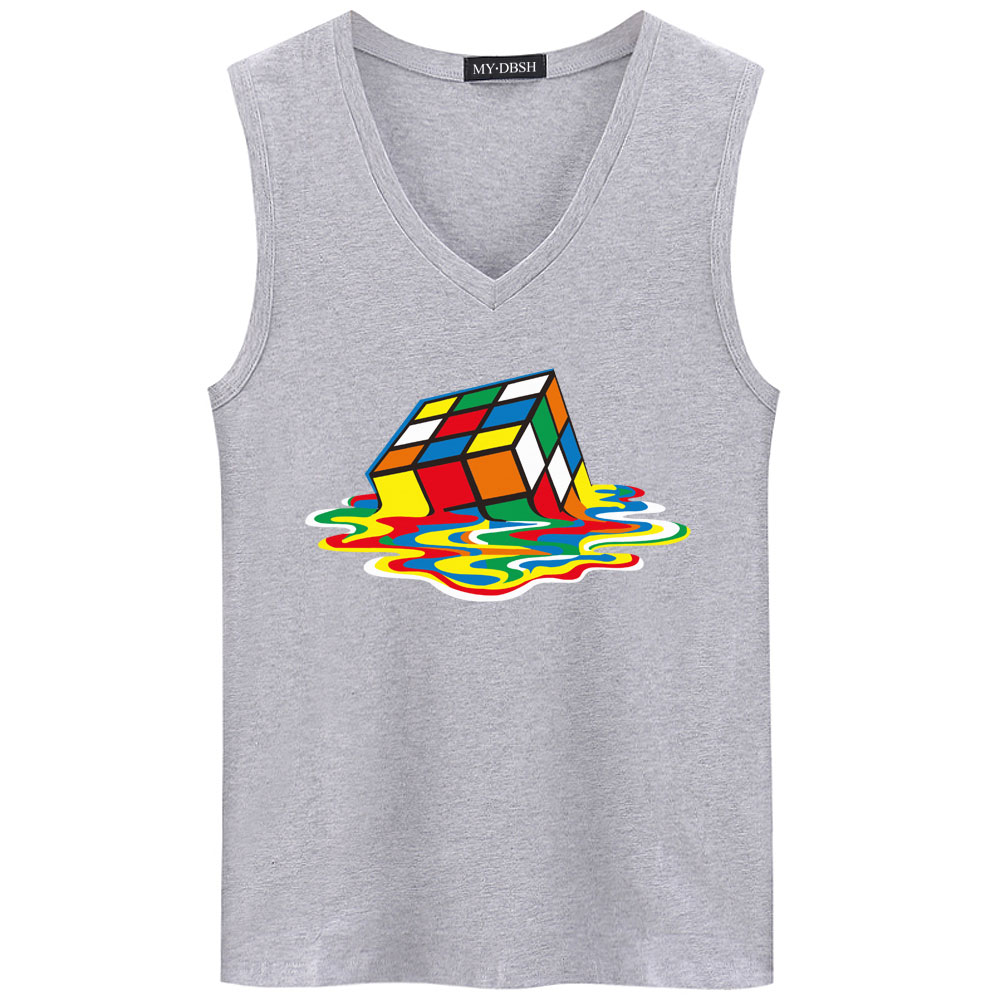 Brand Men Cotoon Sleeveless T shirts Big Bang Theory Print Design Rubik Cube Tank Top Gyms Bodybuilding Undershirt Fitness Vest