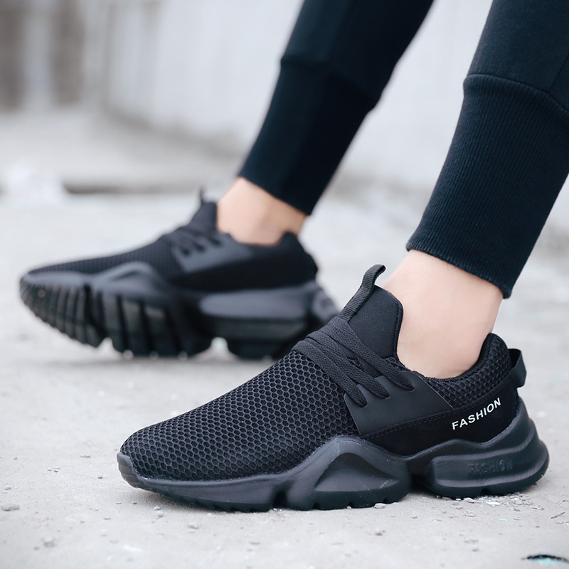 цены на Korean Low Cut Lace Up Breathable Mesh Running Shoes Men Nonslip Shock Absorption Sneakers Plus Big Size Sport Shoes 2018 New в интернет-магазинах