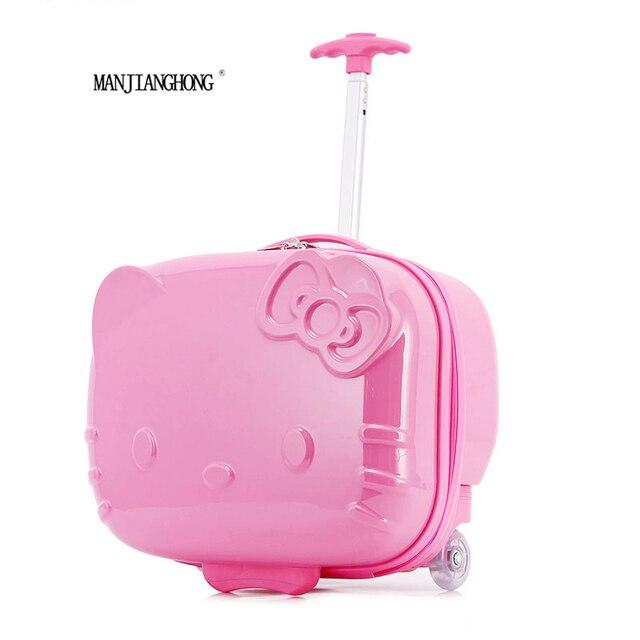 "17 ""дюймовый hello kitty Мультфильм тележка чемодан багажа Тяга багажник/путешественник случай коробку для Женщин Девочек Kids"