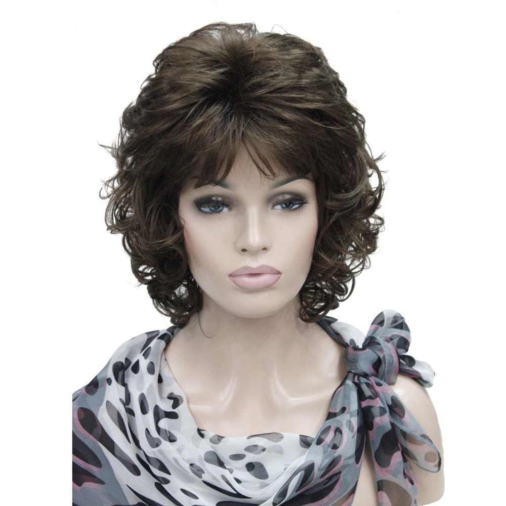Pelucas De Mujer Strongbeauty Pelo Corto Rizado Marrón Oscurorubio Natural Sintético Peluca Completa 4 Colores