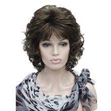 Strongbeauty perucas femininas curto encaracolado cabelo castanho escuro/loira natural sintético peruca completa 4 cor