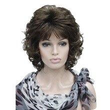 StrongBeauty pelucas para mujer, pelo corto rizado, marrón oscuro/Rubio, peluca completa sintética Natural, 4 colores