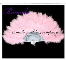 50pcs /LOT cheap price Beautiful feather fan for dance props, feather folding fan,Wedding Hand Fancy Dress Costume in 7 colours