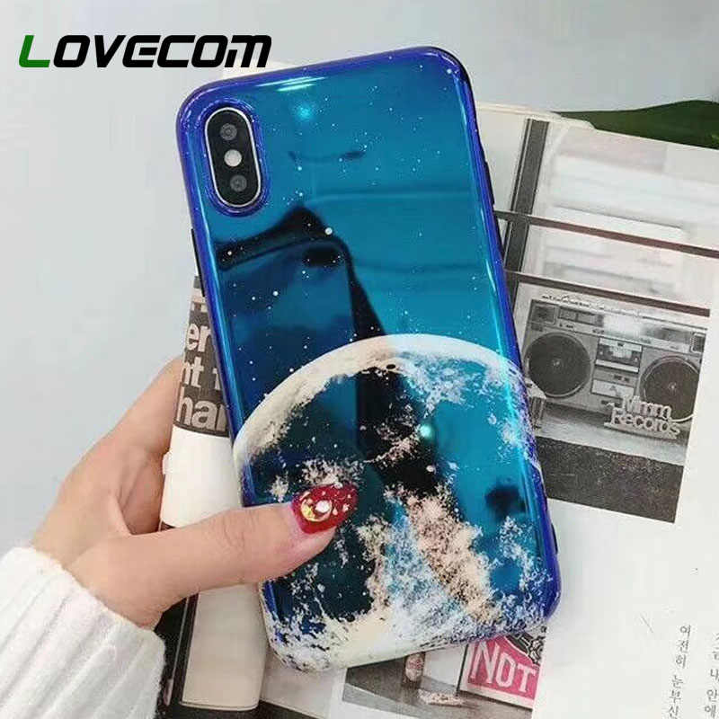 LOVECOM Leuke Blu-Ray Maan Planeet Telefoon Case Voor iPhone XR XS Max X 6S 6 7 8 Plus Retro cartoon Universe Back Cover Cases Gift