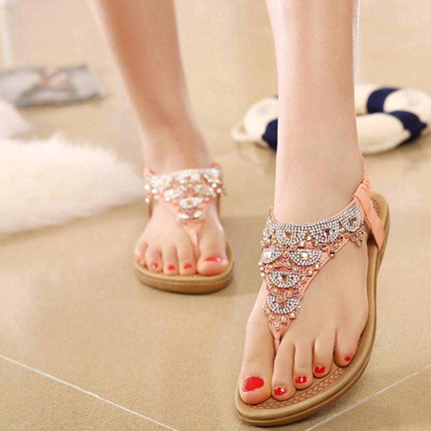 Hot Sale Women Sandals Flip Flops Female Bohe Rhinestone -9572
