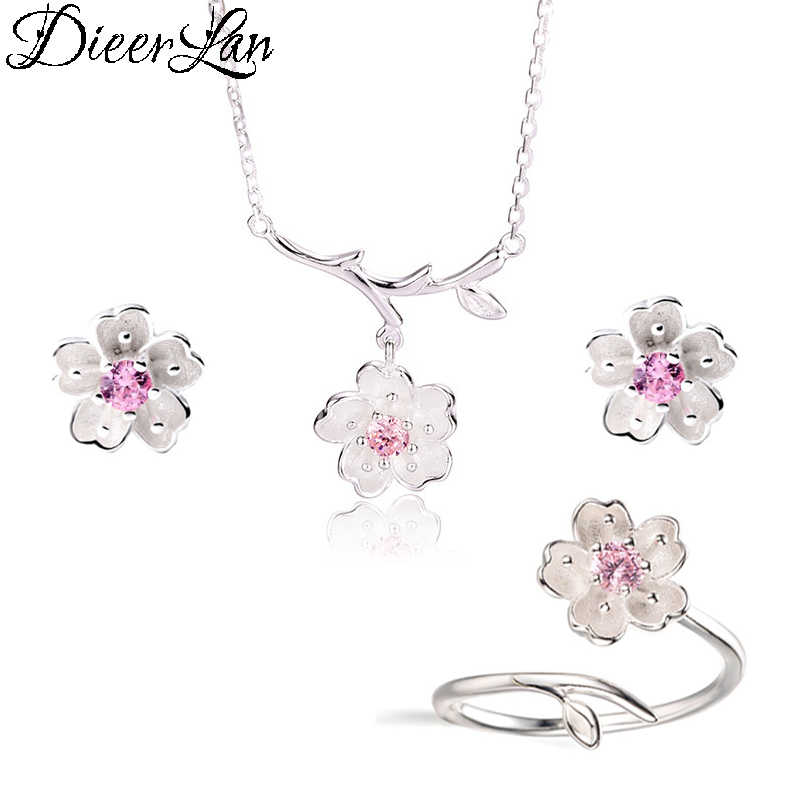 2019 Wedding Bridal Jewelry Sets 925 Sterling Silver Pink Crystal Cherry Blossoms Flower Necklaces Earrings Rings for Women