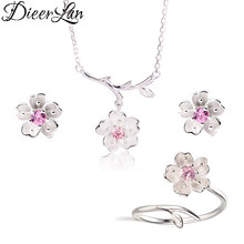 2019 Wedding Bridal Jewelry Sets 925 Sterling Silver Pink Crystal Cherry Blossoms Flower Necklaces Earrings Rings for Women(China)